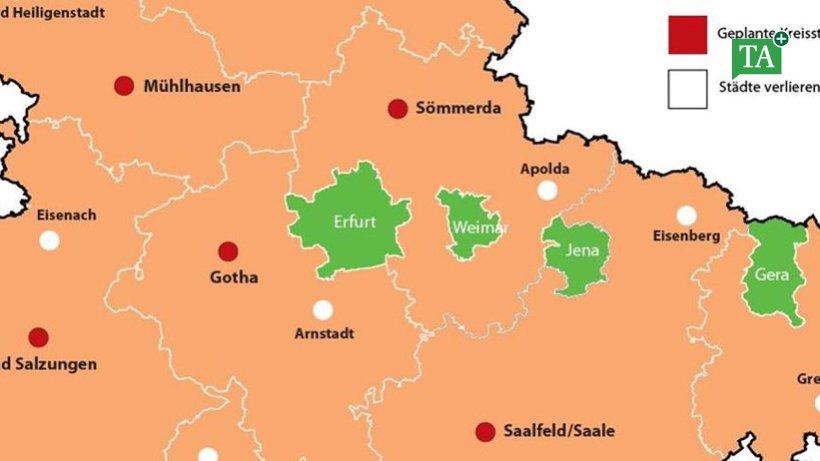 Kreisreform in Thüringen: Änderungen für Zusammenschlüsse