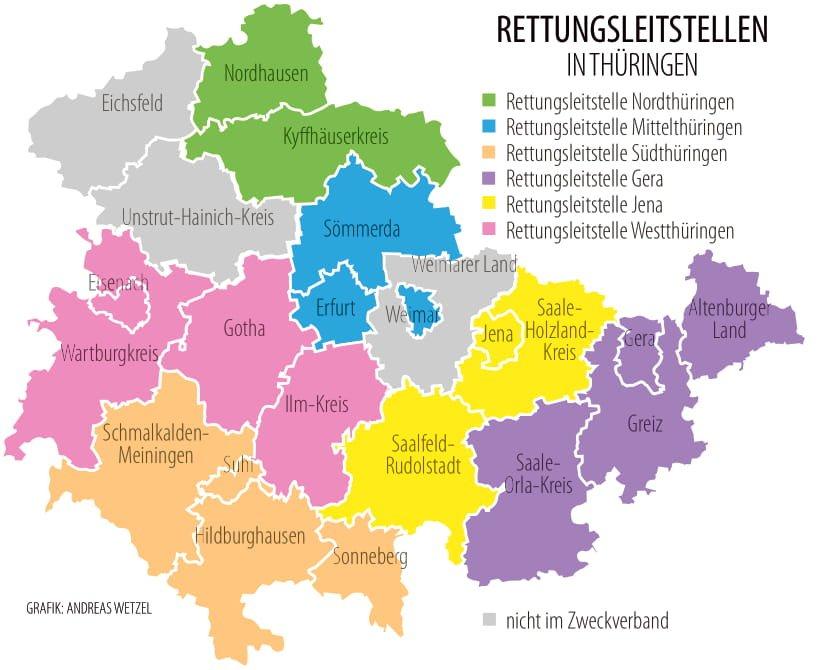 Die künftige Struktur der sechs Thüringer Rettungsleitstellen.
